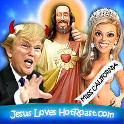 The Donald and Jesus both support Miss California's freedom of speech and lacking attire.  Photo art by Michelle.